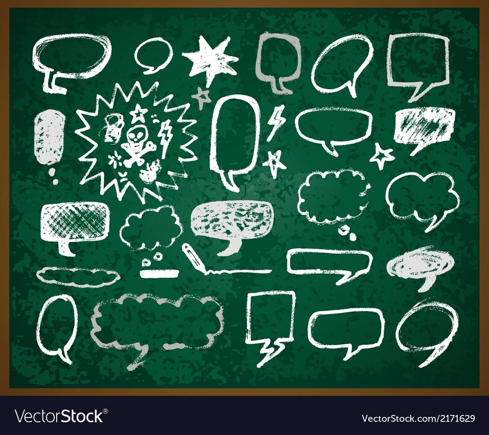 Hand-drawn doodles on green school board vector | Price: 1 Credit (USD $1)