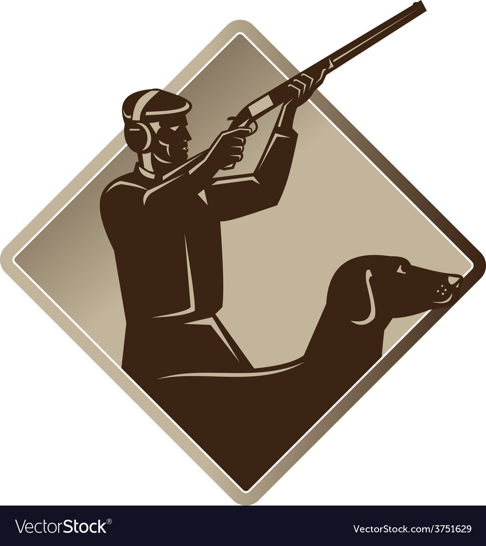 Hunter shooting rifle retriever dog retro vector | Price: 1 Credit (USD $1)