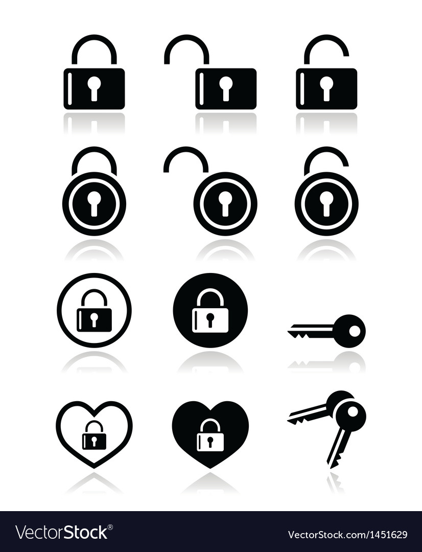 Padlock key icons set vector | Price: 1 Credit (USD $1)