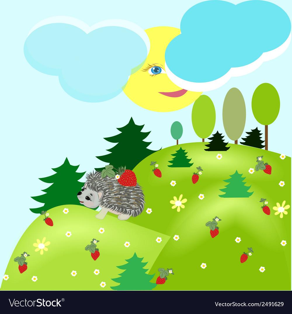 Summer fantasy landscape with hedgehog vector | Price: 1 Credit (USD $1)