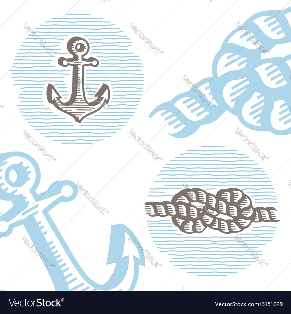 Vintage marine symbols icon set vector | Price: 1 Credit (USD $1)