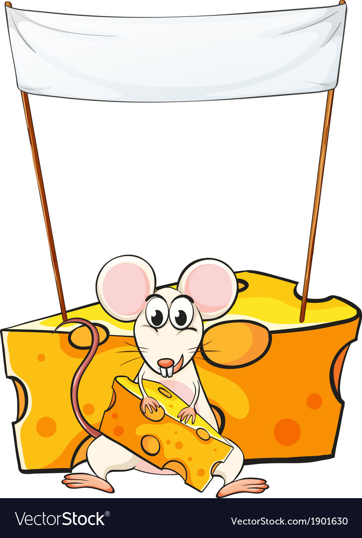A mouse eating below the empty banner vector | Price: 3 Credit (USD $3)