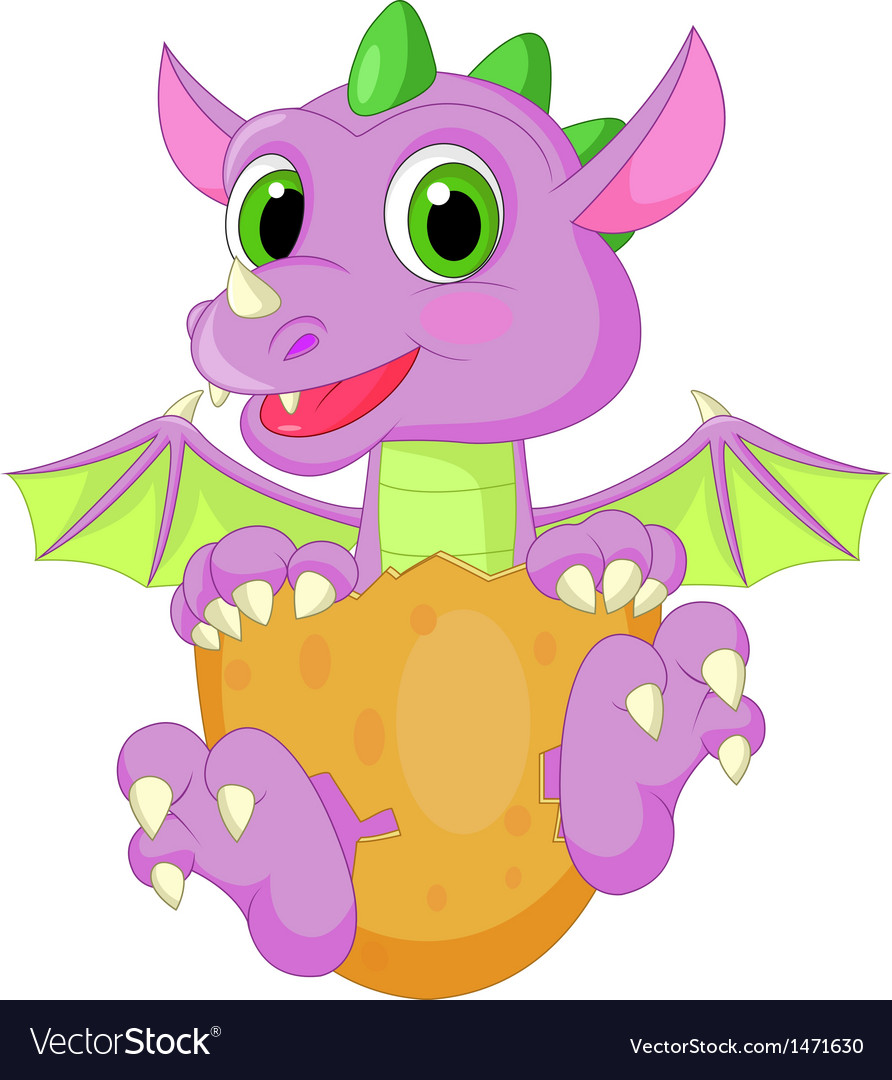 Baby dinosaur cartoon hatching vector | Price: 1 Credit (USD $1)