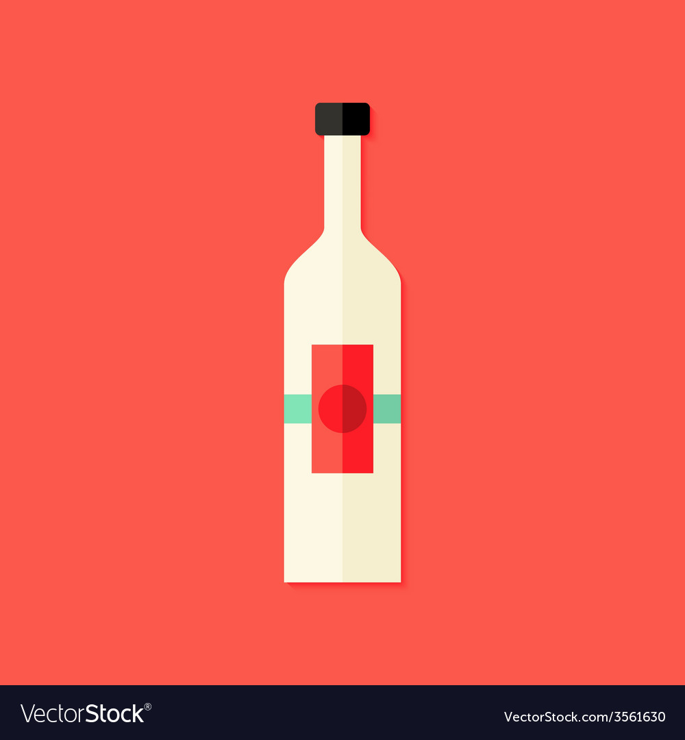 Christmas bottle of wine flat icon vector | Price: 1 Credit (USD $1)