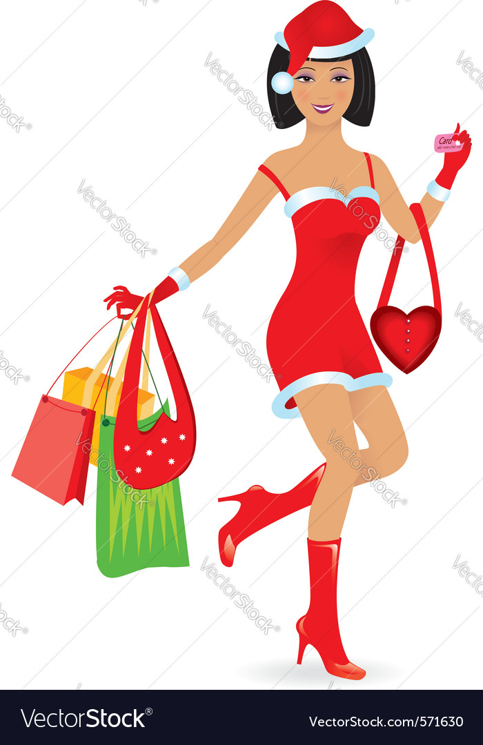 Christmas girl shopping vector | Price: 1 Credit (USD $1)
