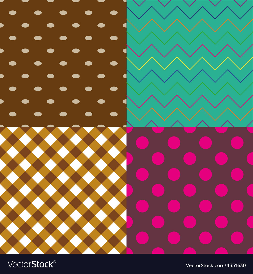 Four abstract retro seamless simple pattern eps10 vector | Price: 1 Credit (USD $1)