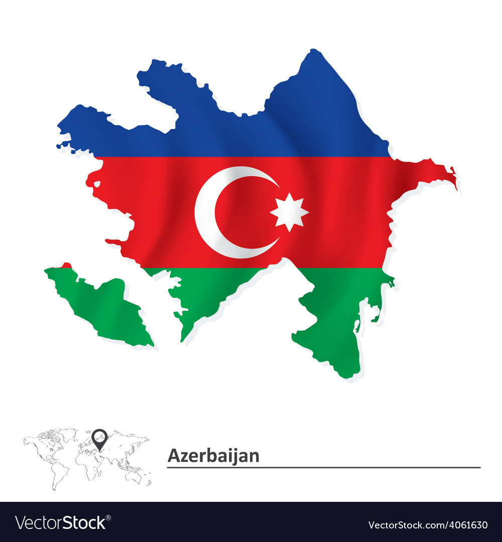 Map of azerbaijan with flag vector   Price: 1 Credit (USD $1)