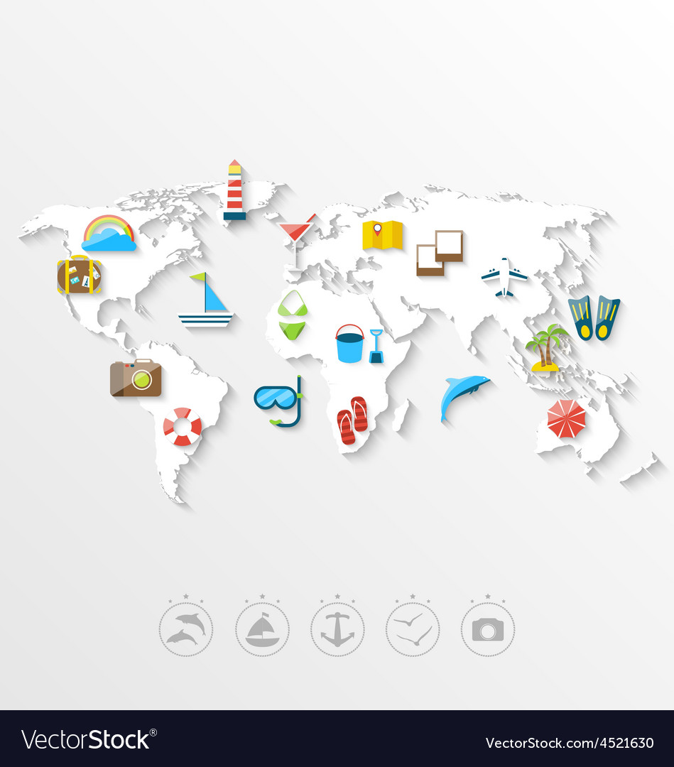 Map of world travel concept simple colorful flat vector | Price: 1 Credit (USD $1)