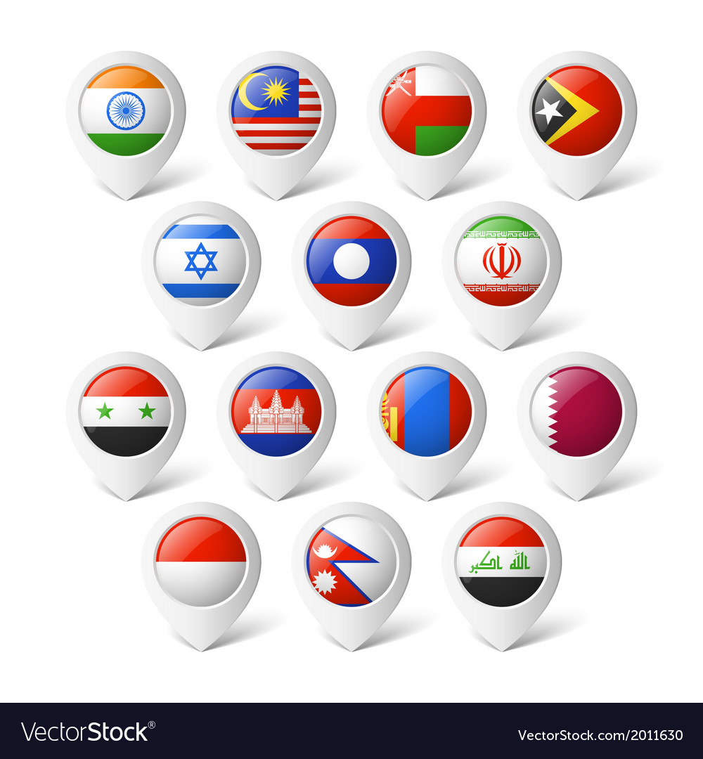 Map pointers with flags asia vector | Price: 1 Credit (USD $1)