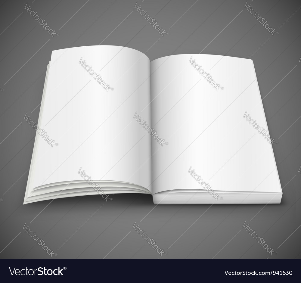 Open spread of book with blank white pages vector | Price: 1 Credit (USD $1)