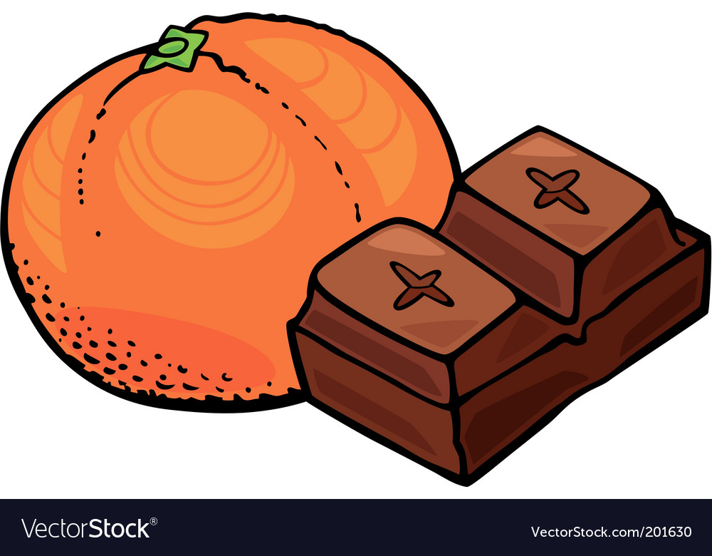 Orange fruit and chocolate block vector | Price: 1 Credit (USD $1)