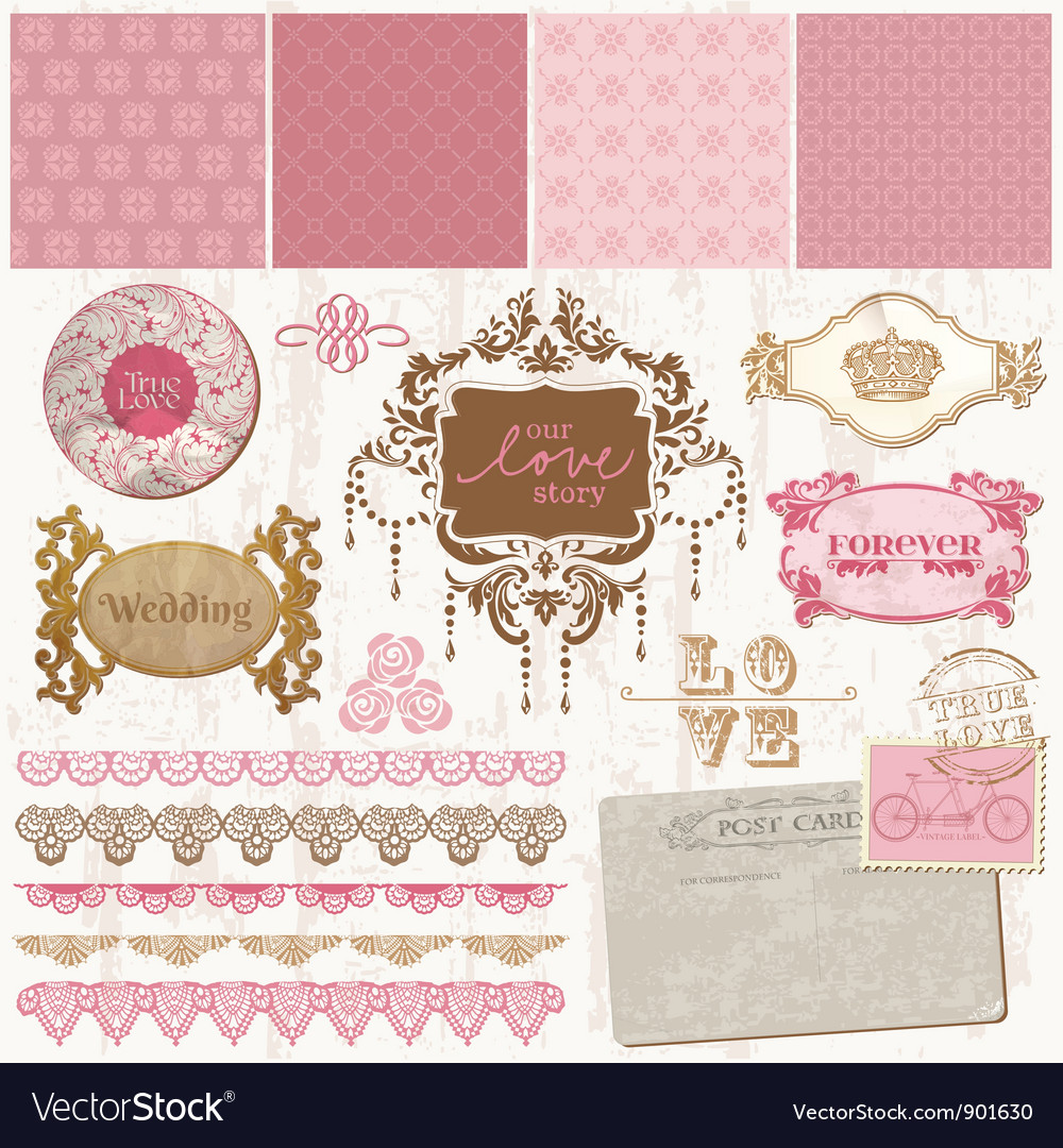 Scrapbook design elements - vintage wedding set vector | Price: 1 Credit (USD $1)