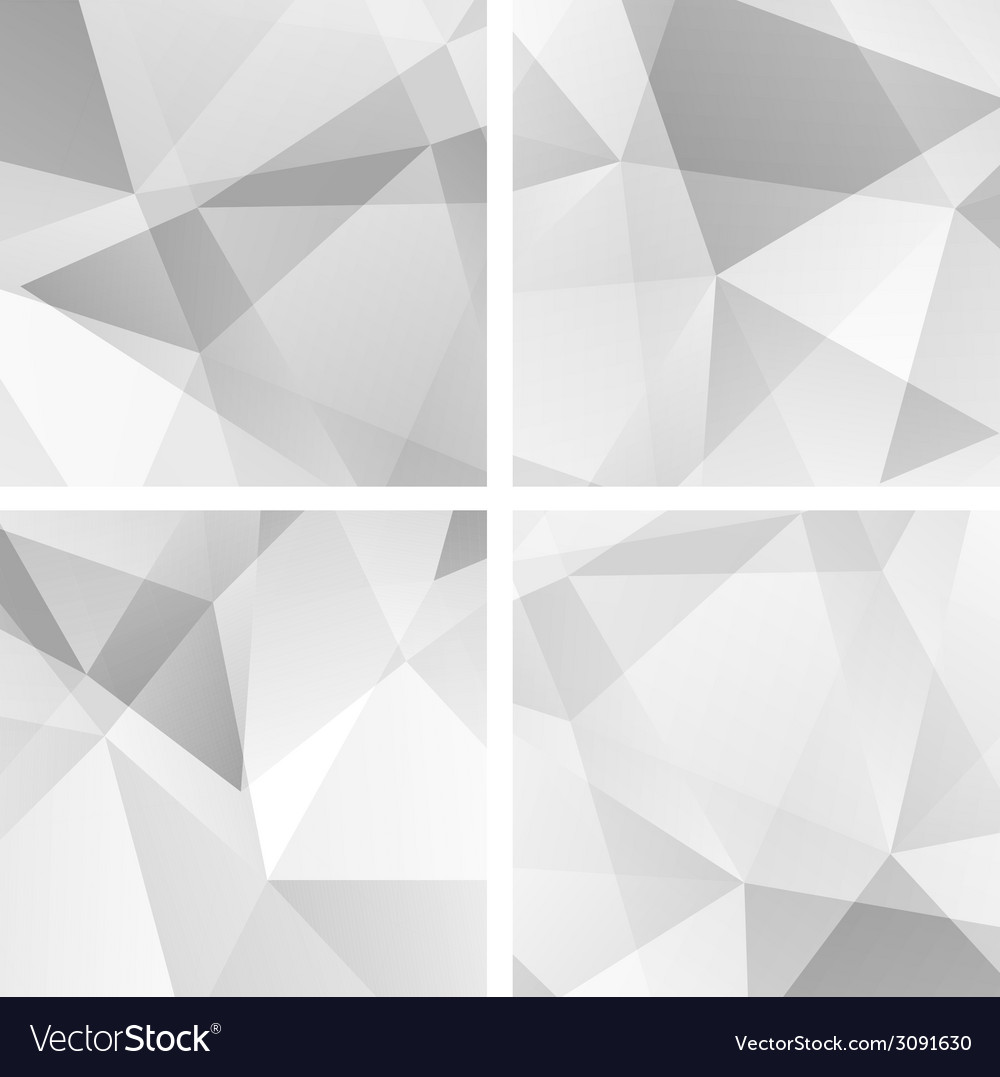Set 4 gray geometric backgrounds vector | Price: 1 Credit (USD $1)