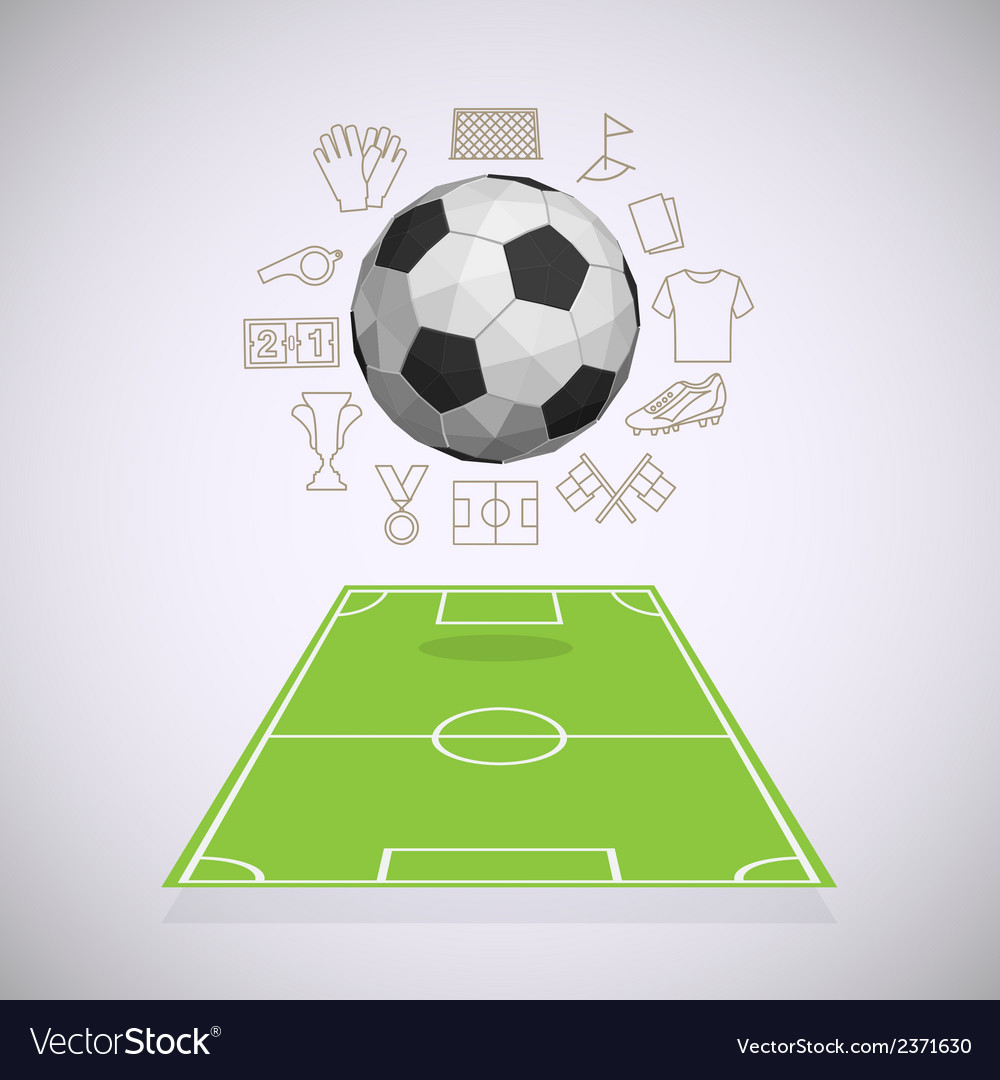 Soccer yard with thin line icons vector | Price: 1 Credit (USD $1)
