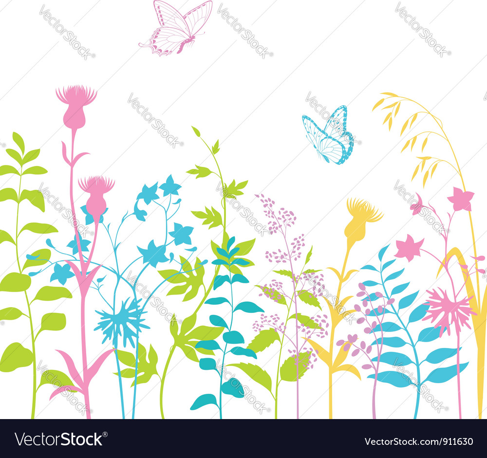 Summer floral background vector | Price: 1 Credit (USD $1)