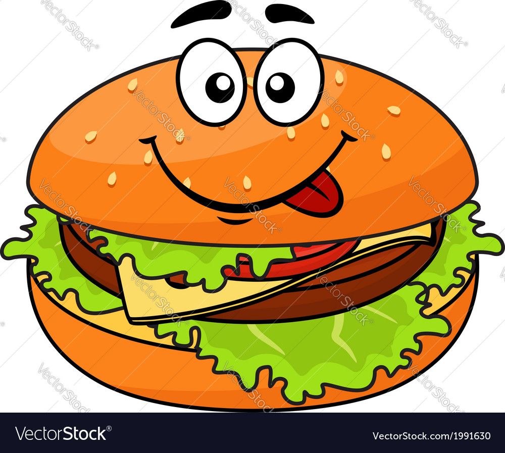 Tasty meaty cheeseburger on a sesame bun vector | Price: 1 Credit (USD $1)