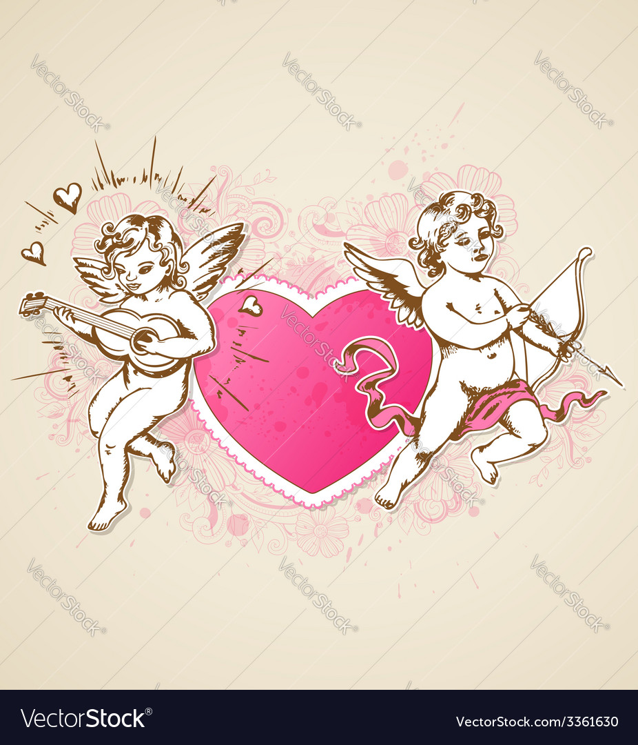 Vintage background with pink heart and cupids vector | Price: 1 Credit (USD $1)