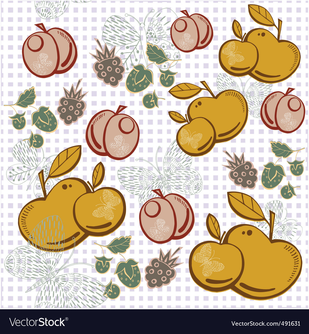 Apple berry pattern vector | Price: 1 Credit (USD $1)
