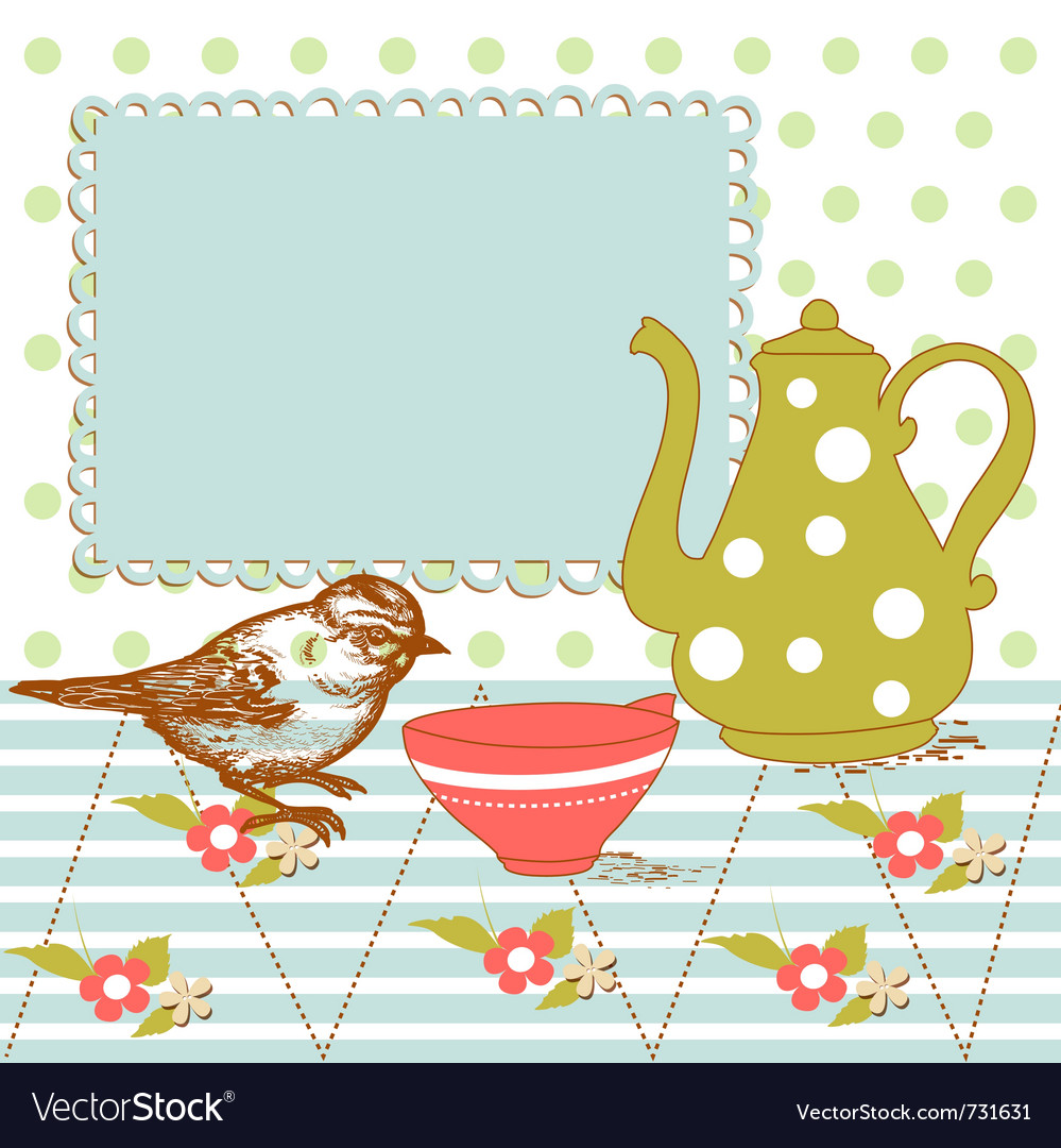 Bird and tea in the kitchen vector | Price: 1 Credit (USD $1)