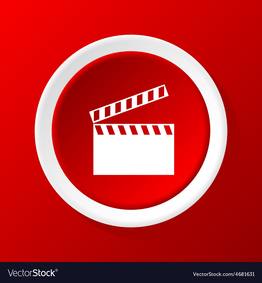 Clapperboard icon on red vector | Price: 1 Credit (USD $1)