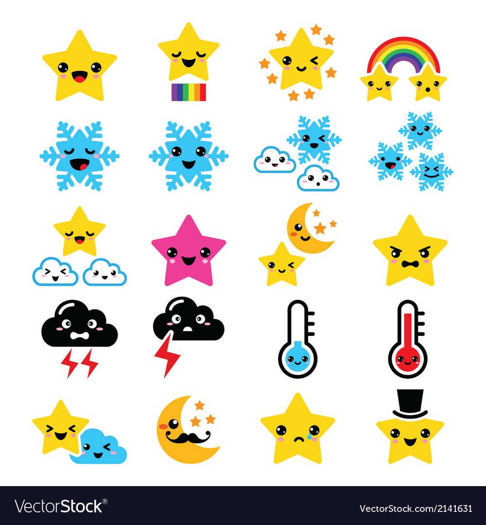 Cute weather kawaii icons -star rainbow moon vector | Price: 1 Credit (USD $1)