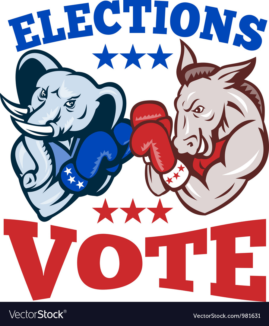 Democrat donkey republican elephant mascot vector | Price: 1 Credit (USD $1)