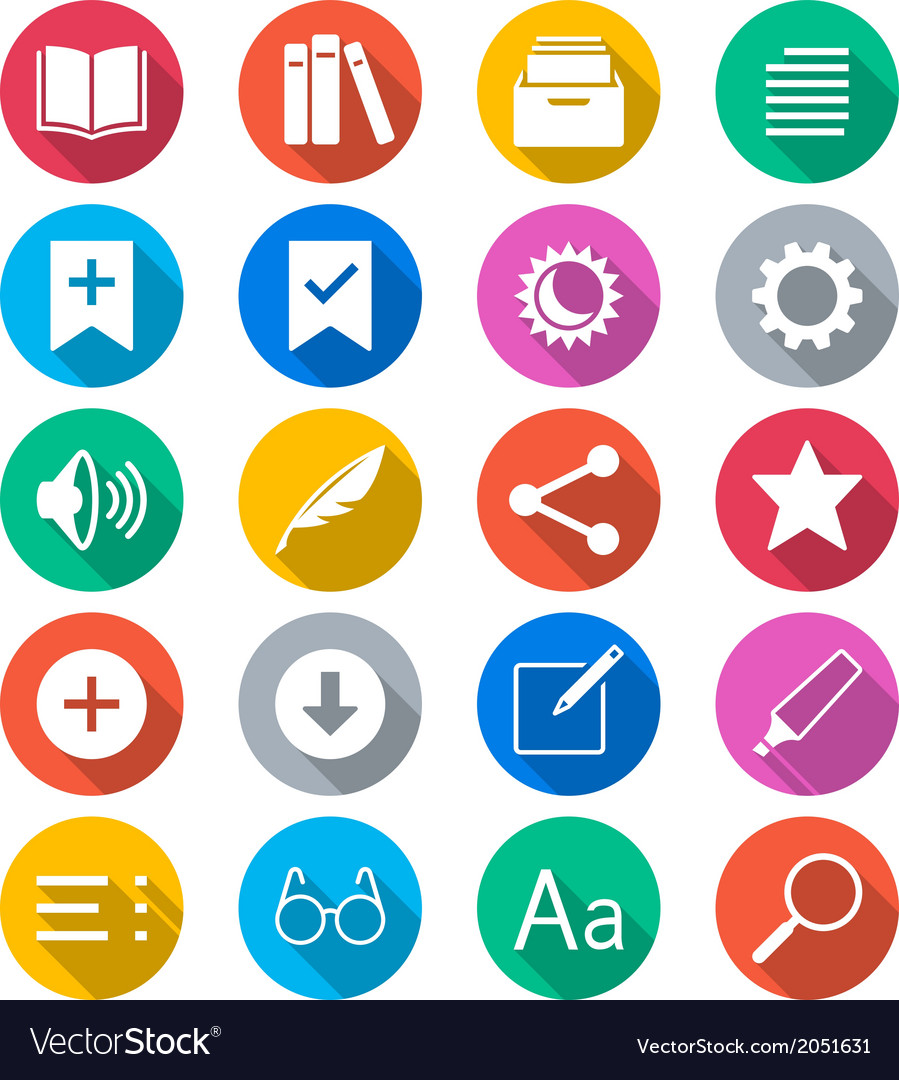 E-book reader flat color icons vector | Price: 1 Credit (USD $1)