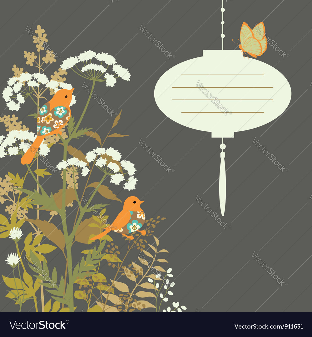Floral card with paper lantern vector | Price: 1 Credit (USD $1)