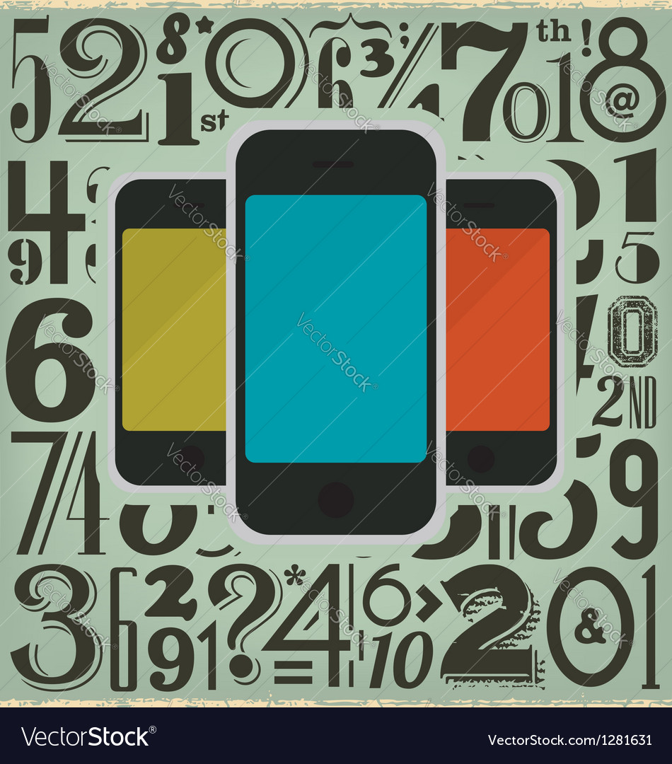 Retro phones and numbers vector | Price: 1 Credit (USD $1)