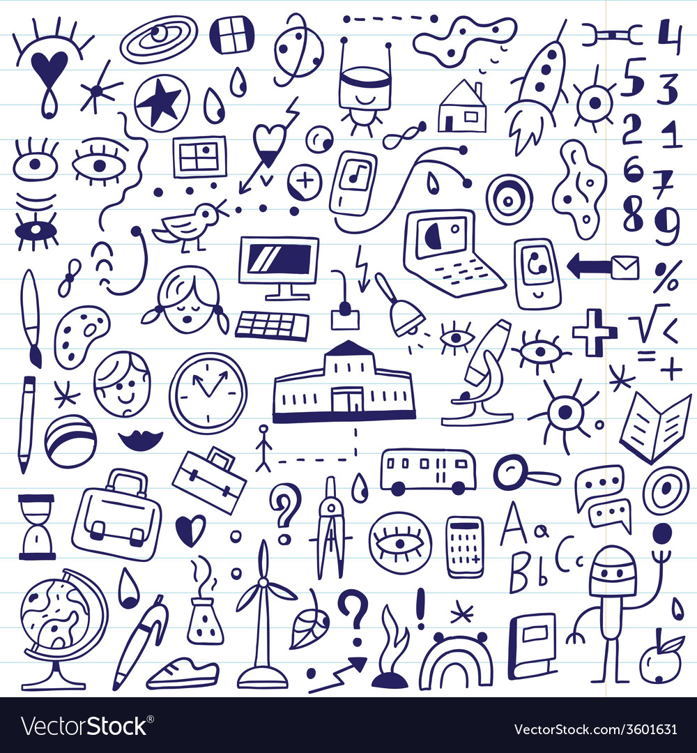 School - doodles set vector | Price: 1 Credit (USD $1)