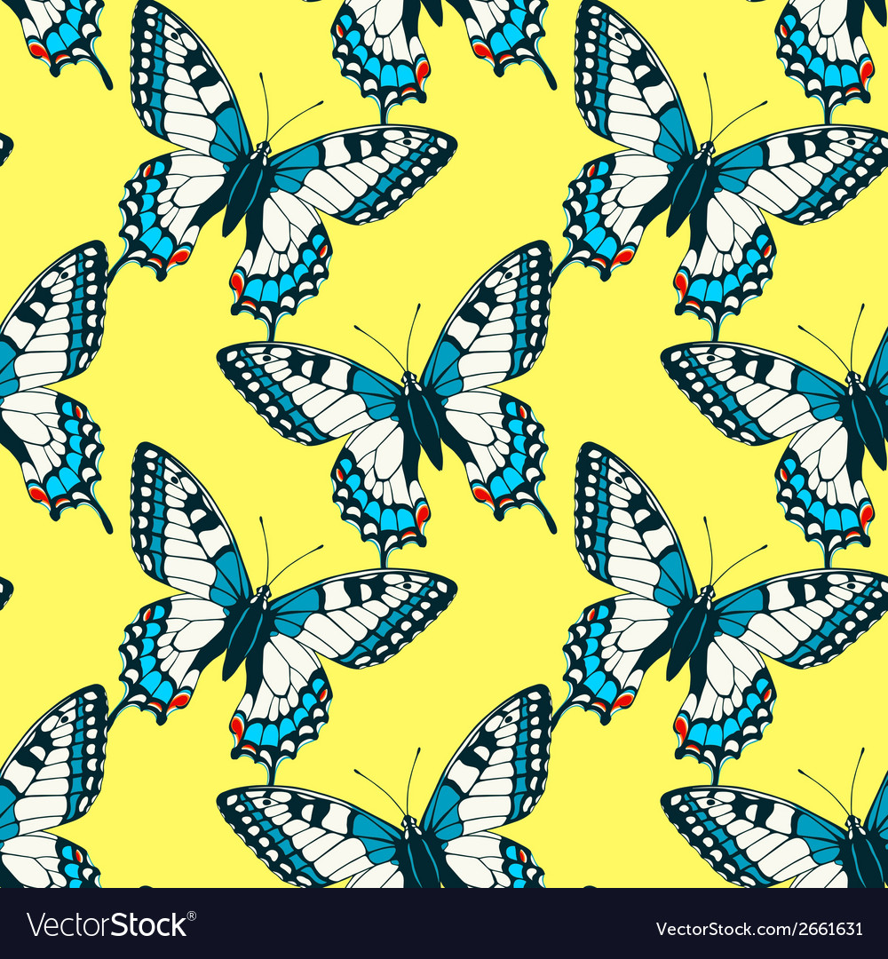 Seamless pattern with colorful machaon swallowtail vector | Price: 1 Credit (USD $1)