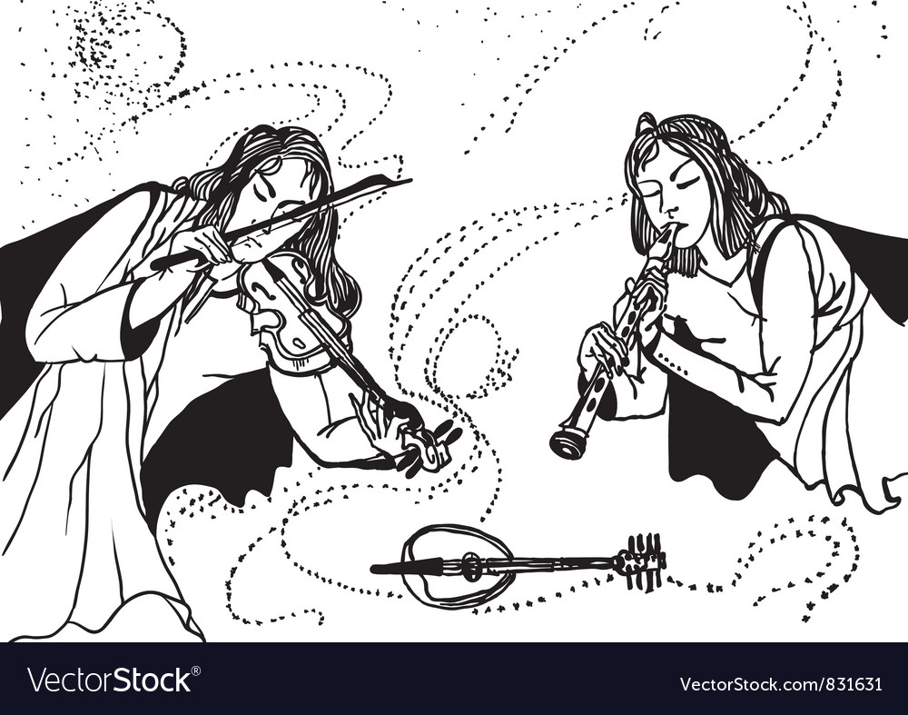 Two musicians vector | Price: 1 Credit (USD $1)