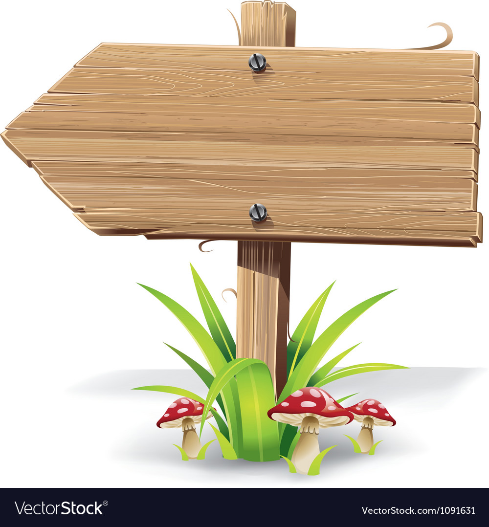 Wooden arrow sign board on a grass with mushrooms vector   Price: 1 Credit (USD $1)