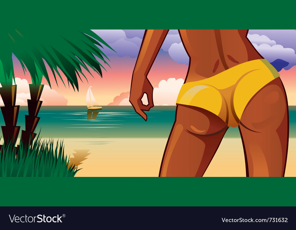 Beautiful sexy woman on tropical beach vector | Price: 3 Credit (USD $3)