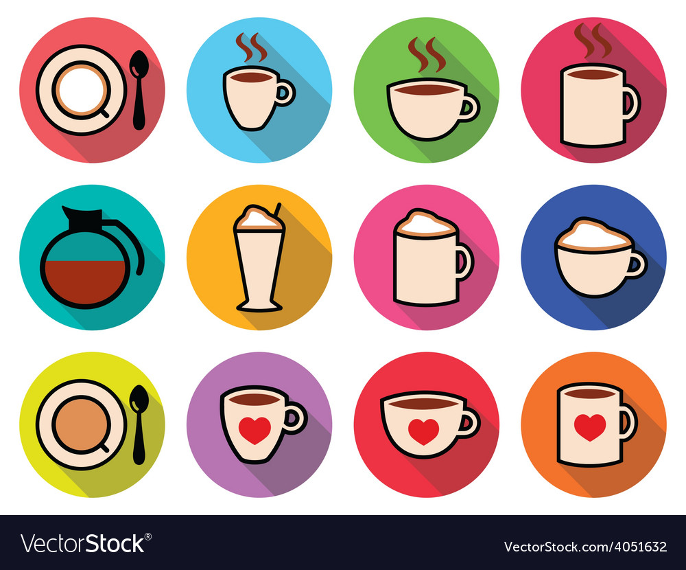 Coffee icons set in color vector