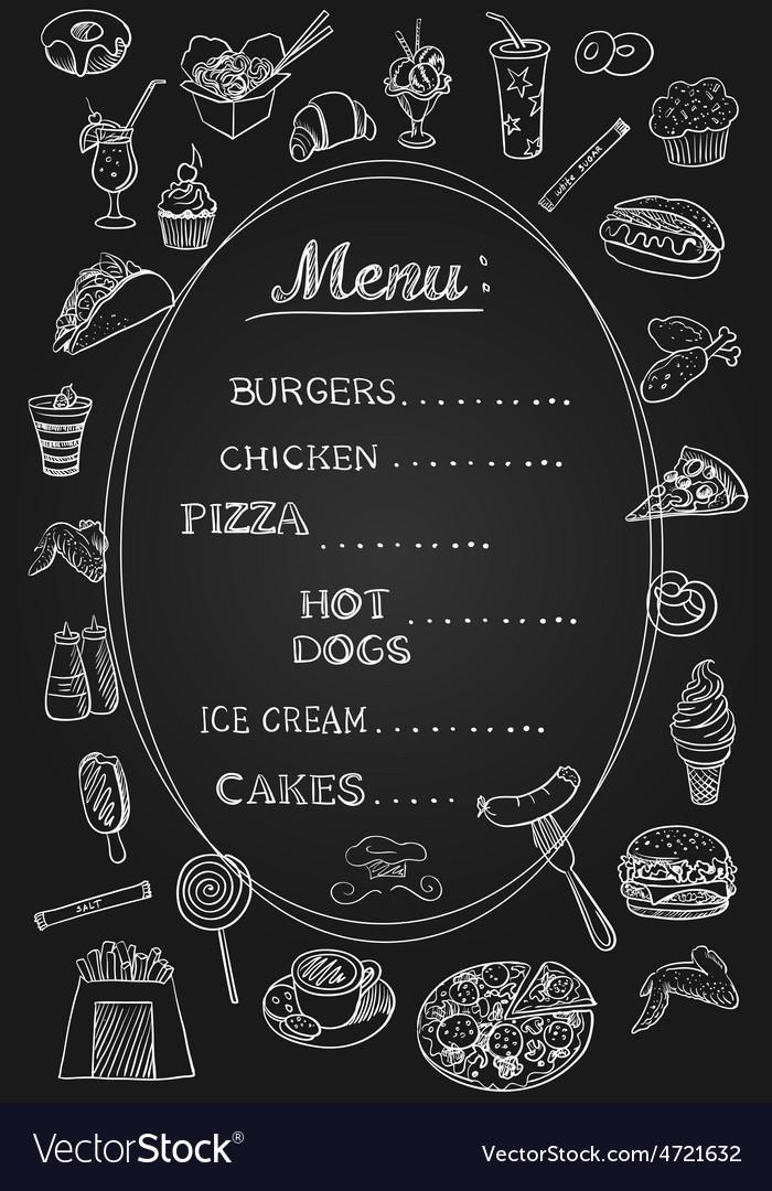 Food menu on chalkboard vector | Price: 1 Credit (USD $1)