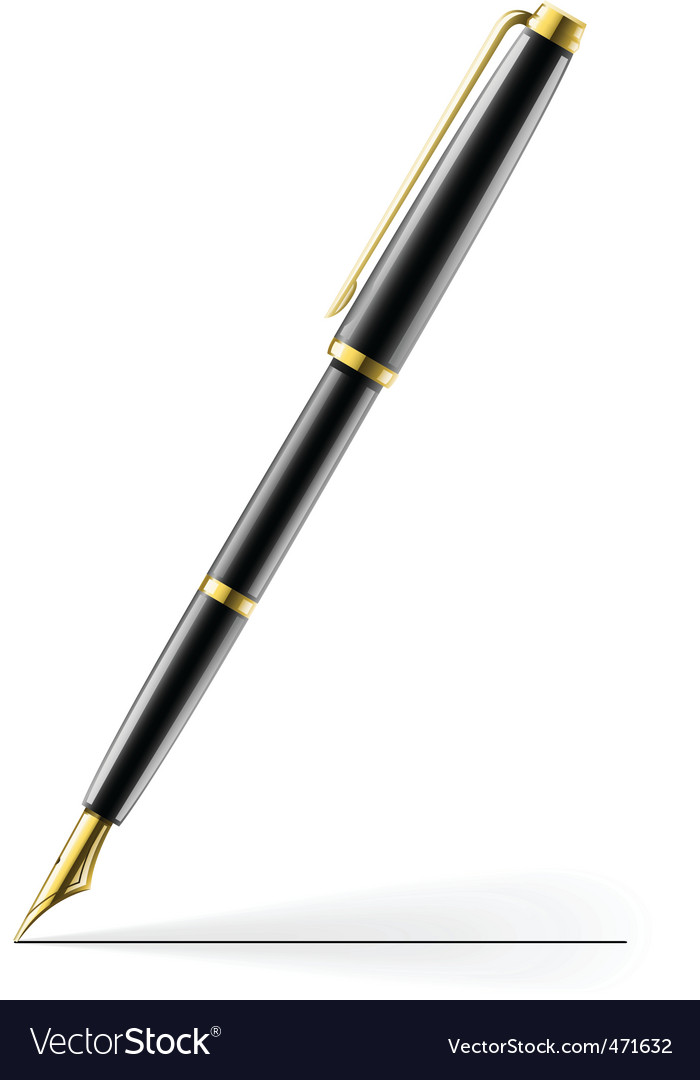 Golden pen vector | Price: 1 Credit (USD $1)