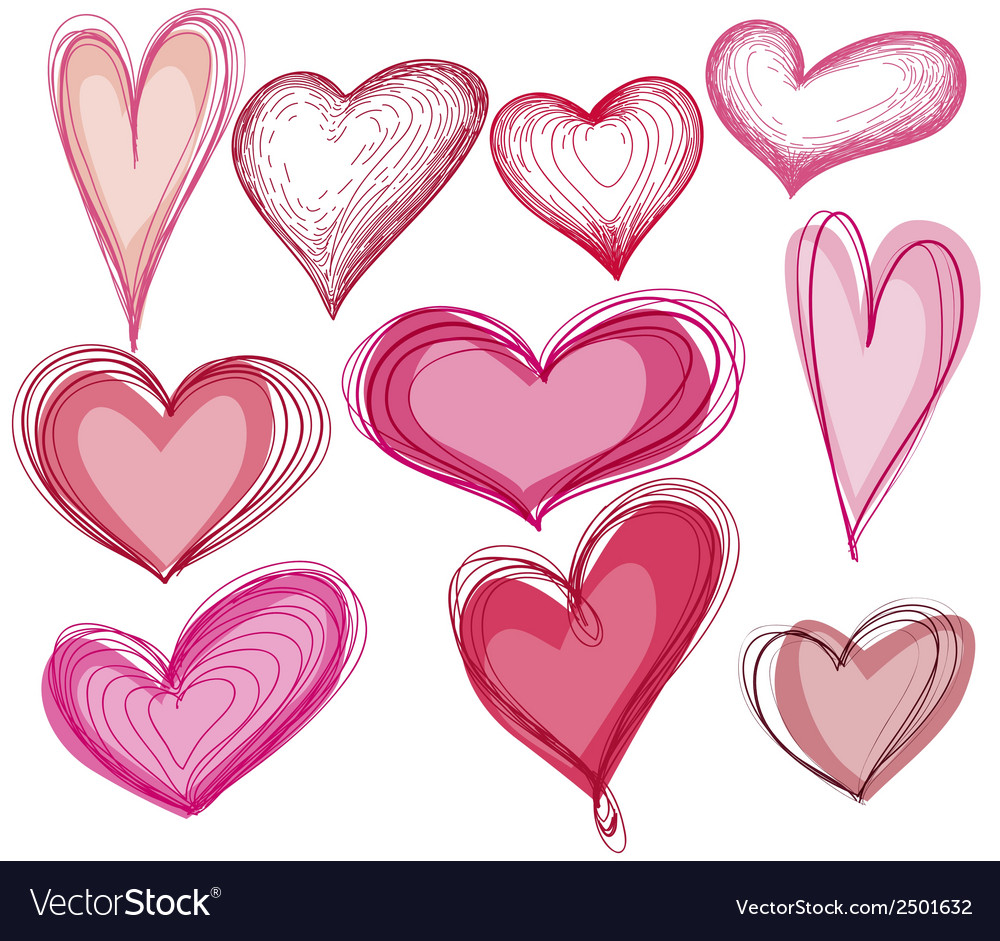 Hand drawn heart shape set vector | Price: 1 Credit (USD $1)