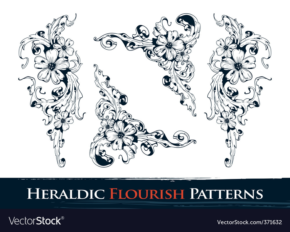 Heraldic flourish patterns vector | Price: 1 Credit (USD $1)