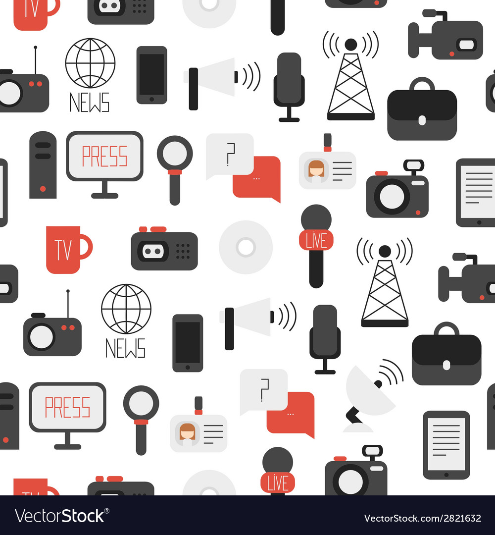 Seamless pattern of of flat colorful journalism vector | Price: 1 Credit (USD $1)