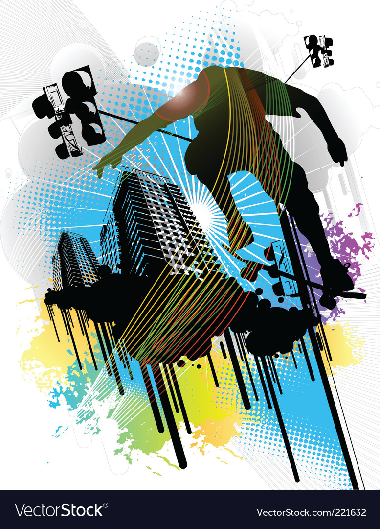 Skateboarder and an urban back vector | Price: 1 Credit (USD $1)