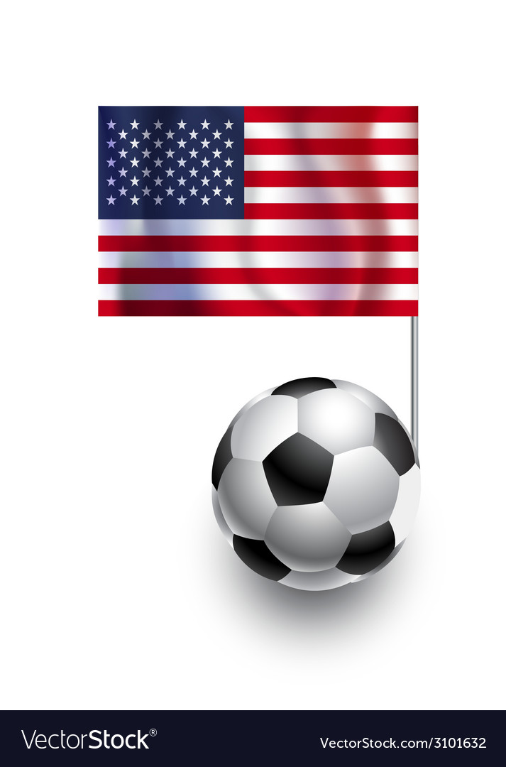 Soccer balls or footballs with flag of usa vector | Price: 1 Credit (USD $1)