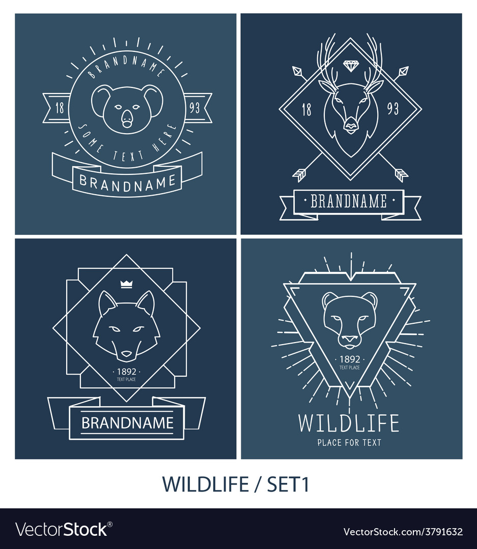 Trendy retro vintage insignias bundle animals vector | Price: 1 Credit (USD $1)