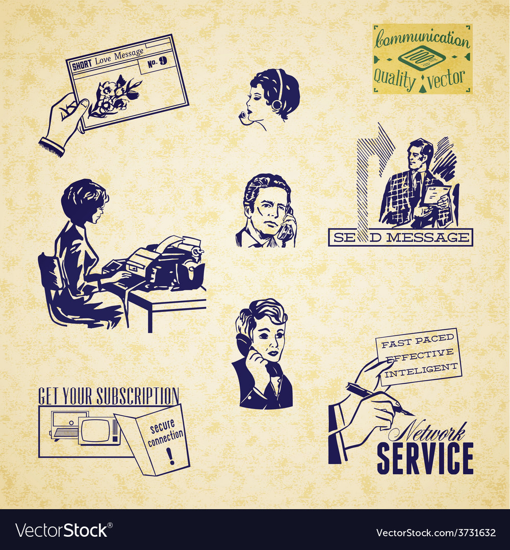 Vintage communication set vector | Price: 1 Credit (USD $1)