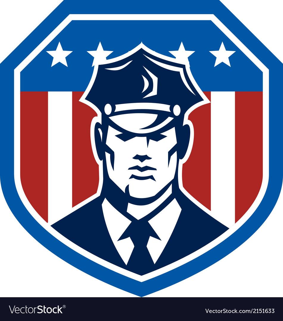 American security guard flag shield retro vector   Price: 1 Credit (USD $1)