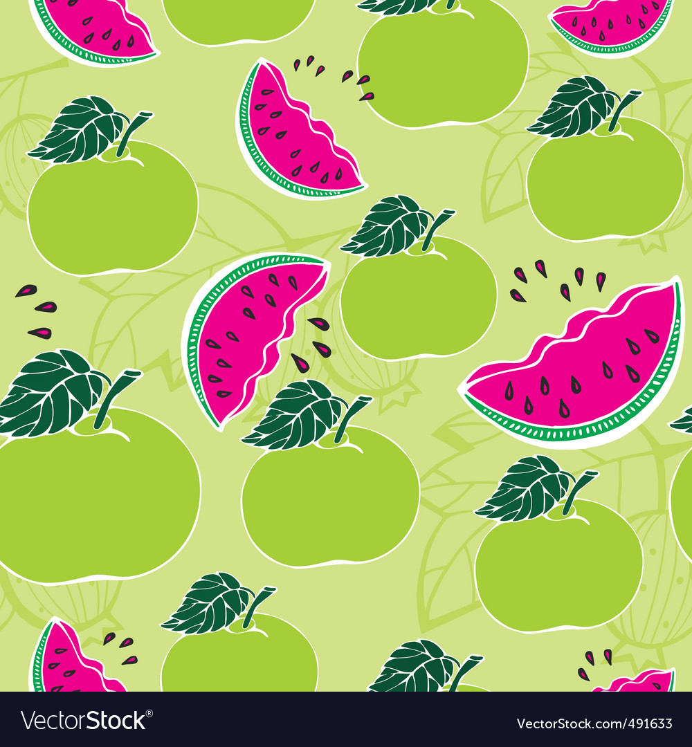 Apple melon pattern vector | Price: 1 Credit (USD $1)