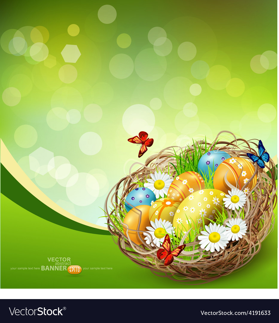 Background with easter nest and eggs vector | Price: 3 Credit (USD $3)