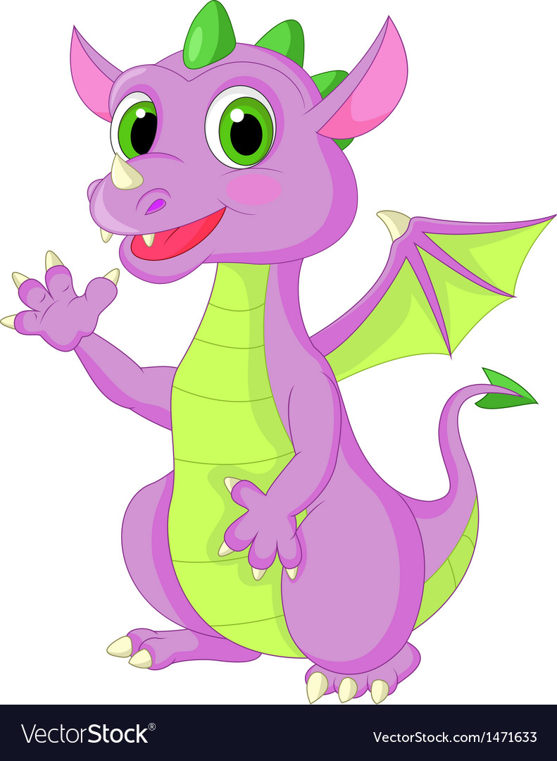 Cute baby dragon cartoon waving vector | Price: 1 Credit (USD $1)