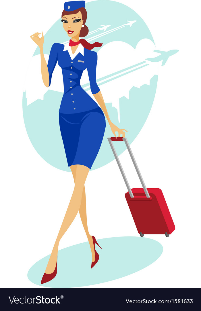 Flight attendant vector | Price: 1 Credit (USD $1)