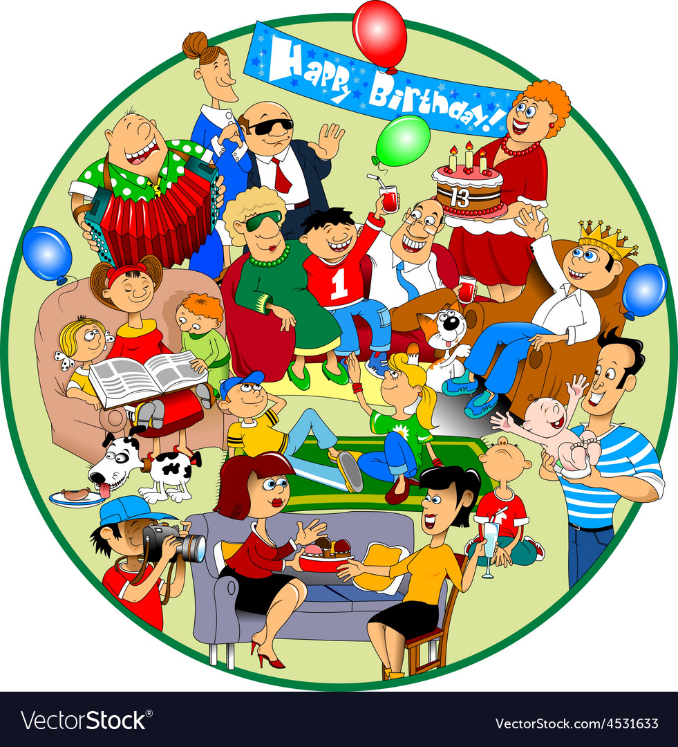 Friends and family celebration vector | Price: 3 Credit (USD $3)